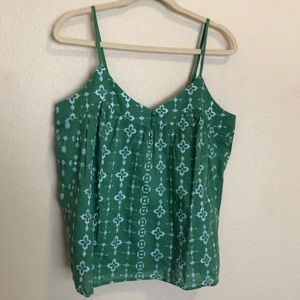 Lucky Brand Green Embroidered Tank